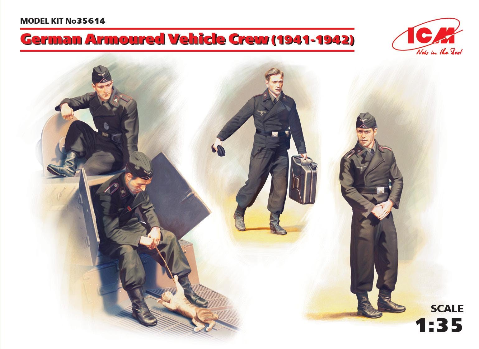 ICM - German Armoured Vehicle Crew (1941-1942) (4 figures and cat)